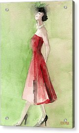 Vintage Red Cocktail Dress Fashion Illustration Art Print Acrylic Print by Beverly Brown