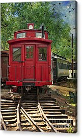 Vintage Red Train Acrylic Print by Juli Scalzi