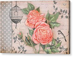 Vintage Rose Collage Acrylic Print by Paul Brent