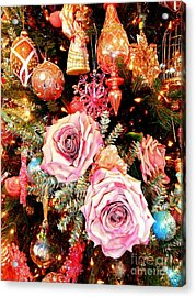 Vintage Rose Holiday Decorations Acrylic Print by Janine Riley