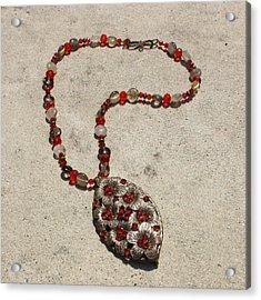 Vintage Ruby Rhinestone Flower Brooch Pendant Necklace 3633 Acrylic Print by Teresa Mucha