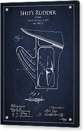 Vintage Rudder Patent Drawing From 1887 Acrylic Print by Aged Pixel