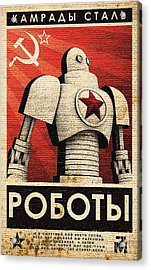 Vintage Russian Robot Poster Acrylic Print by R Muirhead Art