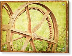Vintage Rusty Wheel Acrylic Print by Lesley Rigg