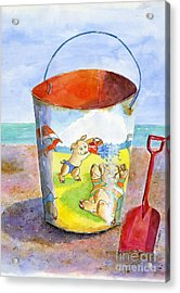 Vintage Sand Pail- 3 Pigs At The Beach Acrylic Print by Sheryl Heatherly Hawkins