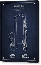 Saxophone Patent Drawing From 1899 - Blue Acrylic Print by Aged Pixel