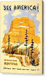 Vintage See America Travel Poster Acrylic Print by Jon Neidert