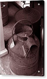 Acrylic Print featuring the photograph Vintage Sepia Galvanized Container by Lesa Fine