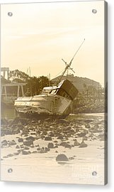 Vintage Shipwreck  Acrylic Print by Artist and Photographer Laura Wrede