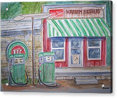 Vintage Sinclair Gas Station Acrylic Print by Belinda Lawson