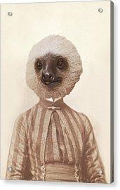 Vintage Sloth Girl Portrait Acrylic Print by Brooke T Ryan