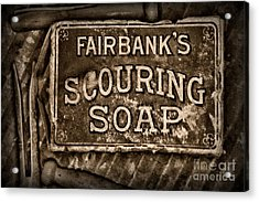 Vintage Soap In Sepia Acrylic Print by Paul Ward