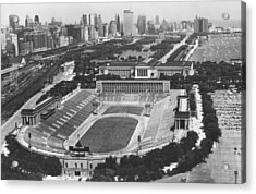 Vintage Soldier Field - Chicago Bears Stadium Acrylic Print by Horsch Gallery