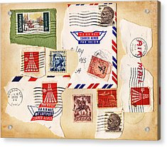 Acrylic Print featuring the photograph Vintage Stamps On Old Postcard by Vizual Studio