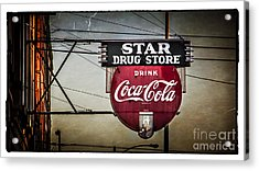 Vintage Star Drug Store Acrylic Print by Perry Webster