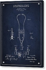 Vintage Stethoscope Patent Drawing From 1882 - Navy Blue Acrylic Print