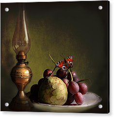 Vintage Still Life Butterfly And Fruits Acrylic Print by Luisa Vallon Fumi
