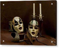 Vintage Still Life Of Venitian Mask Acrylic Print