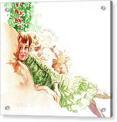 Acrylic Print featuring the painting Vintage Study Lilian Of James Tissot by Irina Sztukowski