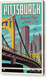 Pittsburgh Poster - Vintage Travel Bridges Acrylic Print