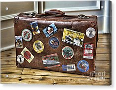 Acrylic Print featuring the photograph Vintage Suitcase With Labels by Craig B