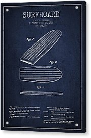 Vintage Surfboard  Patent From 1958 Acrylic Print