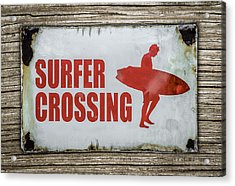 Vintage Surfer Crossing Sign On Wood Acrylic Print
