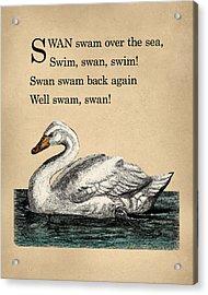 Vintage Swan Nursery Poem Acrylic Print