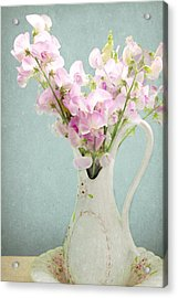 Acrylic Print featuring the photograph Vintage Sweet Peas In A Pitcher by Peggy Collins
