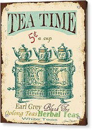 Vintage Tea Time Sign Acrylic Print by Jean Plout