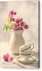Vintage Teacups With Roses Acrylic Print by Amanda Elwell