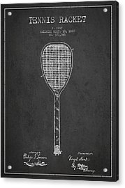 Vintage Tennnis Racket Patent Drawing From 1887-dark Acrylic Print