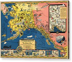 Vintage Tourist Map Of Alaska By The Alaska Steamship Co. - 1934 Acrylic Print