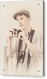 Vintage Tourist Taking Photograph Souvenirs Acrylic Print by Jorgo Photography - Wall Art Gallery