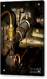 Vintage Tractor Engine Detail Acrylic Print by Heiko Koehrer-Wagner