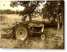Vintage Tractor In Sepia Acrylic Print