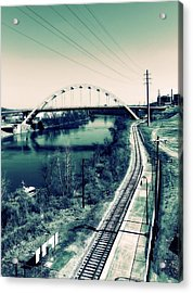 Vintage Train Tracks In Nashville Acrylic Print by Dan Sproul