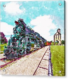 Vintage Train Watercolor Acrylic Print by Marian Voicu