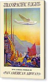Vintage Transpacific Flight Travel Poster Acrylic Print by Jon Neidert