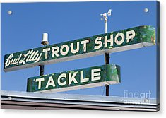 Acrylic Print featuring the photograph Vintage Trout Shop Sign West Yellowstone by Edward Fielding