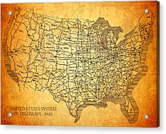 Vintage United States Highway System Map On Worn Canvas Acrylic Print by Design Turnpike