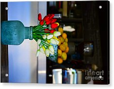 Vintage Vase And Rose Acrylic Print by Bobby Mandal