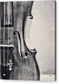 Vintage Violin Portrait In Black And White Acrylic Print
