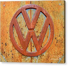 Vintage Volkswagen Bus Logo Acrylic Print by Catherine Sherman