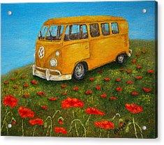 Vintage Vw Bus Acrylic Print by Pamela Allegretto