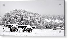 Vintage Wagon In Snow And Fog Filled Valley Acrylic Print by Gary Whitton