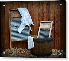 Vintage Washboard Laundry Day Acrylic Print by Paul Ward