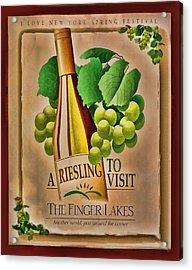 Vintage Wine Poster Acrylic Print by Linda Phelps
