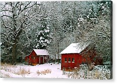 Acrylic Print featuring the photograph Vintage Winter Barn  by Peggy Franz