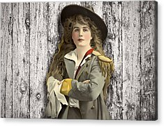 Vintage Woman In Uniform Acrylic Print by Peggy Collins